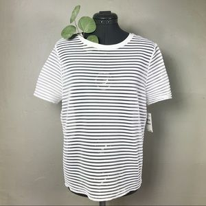 NWT Trouvé White Mesh Striped Sheer Paneled Top